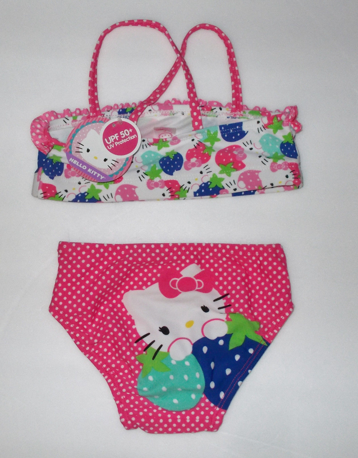 Hello Kitty Baby Girls 2 Piece Ruffle Dot Bikini Size 2t