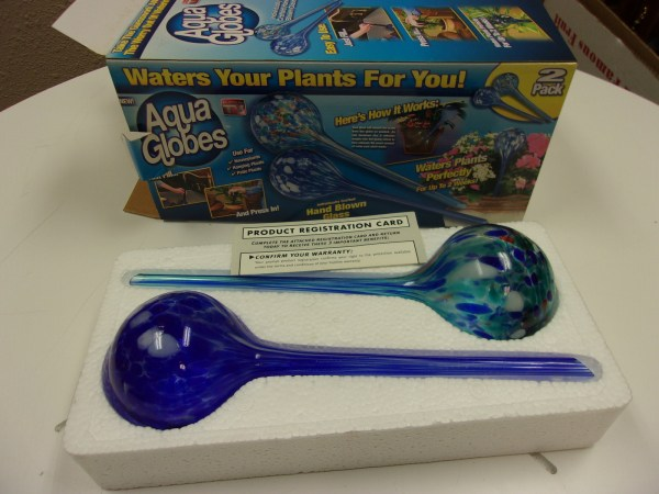 Aqua Globes 2 Pk Glass Plant Watering Bulbs Hand Blown Stained Nib - Roots