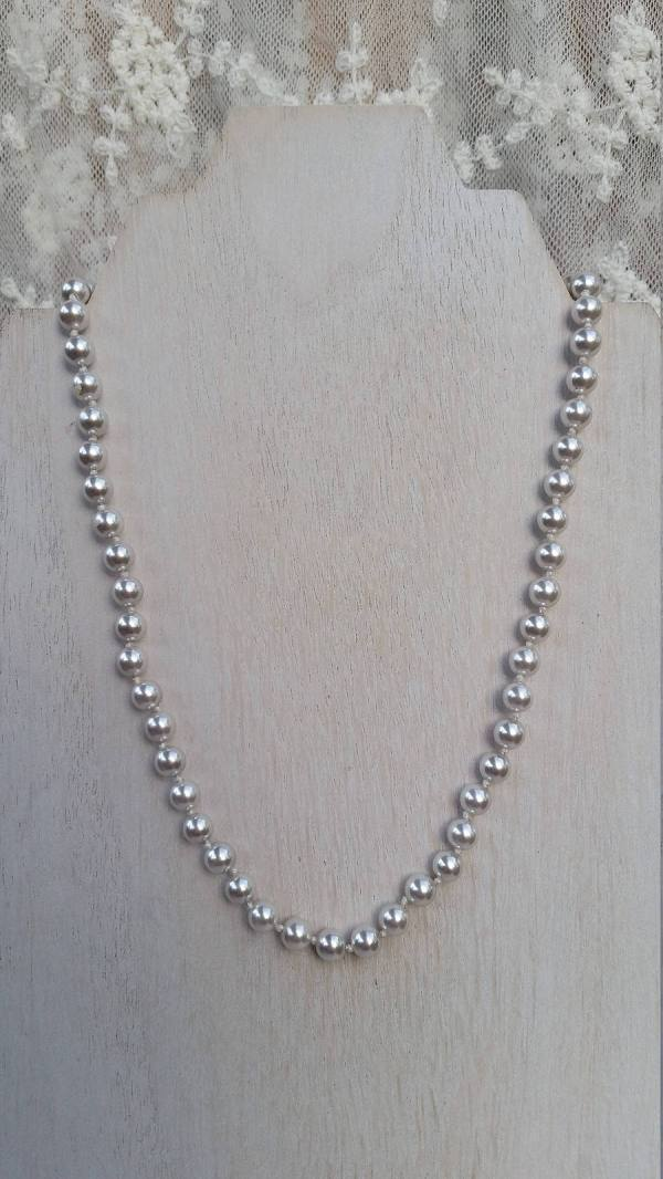 Vintage Monet Silver Faux Pearl 6.5m 7.0mm Beads Hand