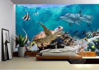 Underwater Scene Fish Sea Turtle Dolphins 3D Wallpaper ...