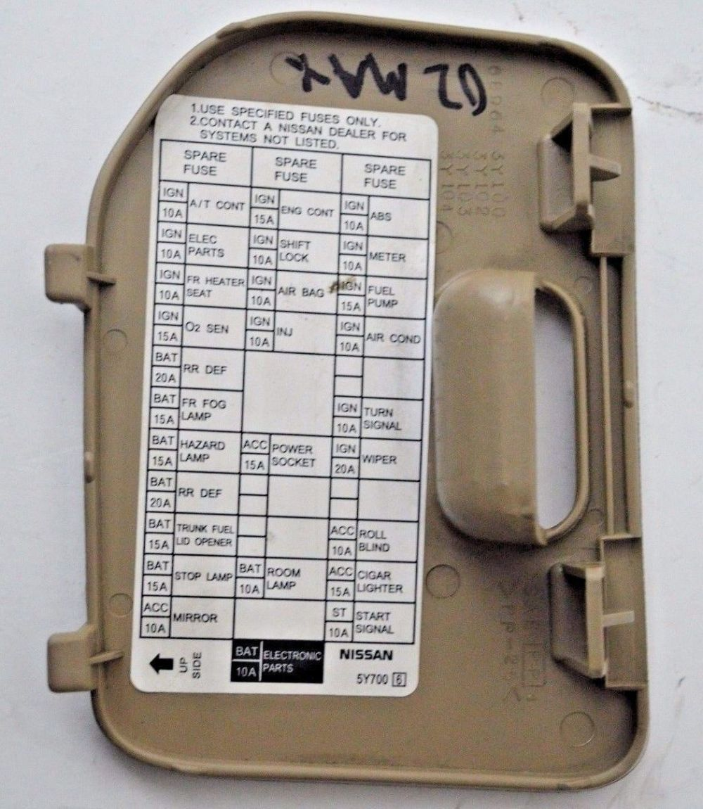 medium resolution of 00 01 02 03 nissan maxima tan fuse block cover lid door panel