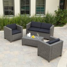 Grey Resin Wicker Patio Set with Cushions