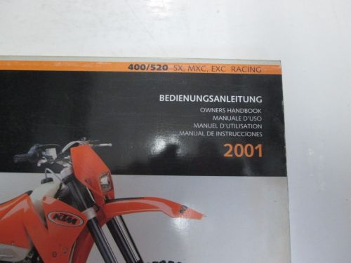 small resolution of 2001 ktm 400 520 sx mxc exc racing sport owners handbook worn stained oem