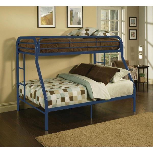 Kids Childrens Unique Twin Over Full Metal Bunk Bed - Bedroom Furniture