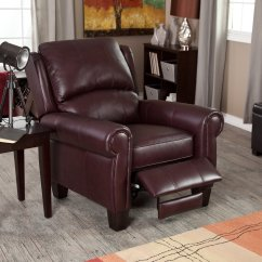 Living Room Leather Chairs Outside Chaise Lounge Recliner Chair Home Burgundy Push Back Wingback