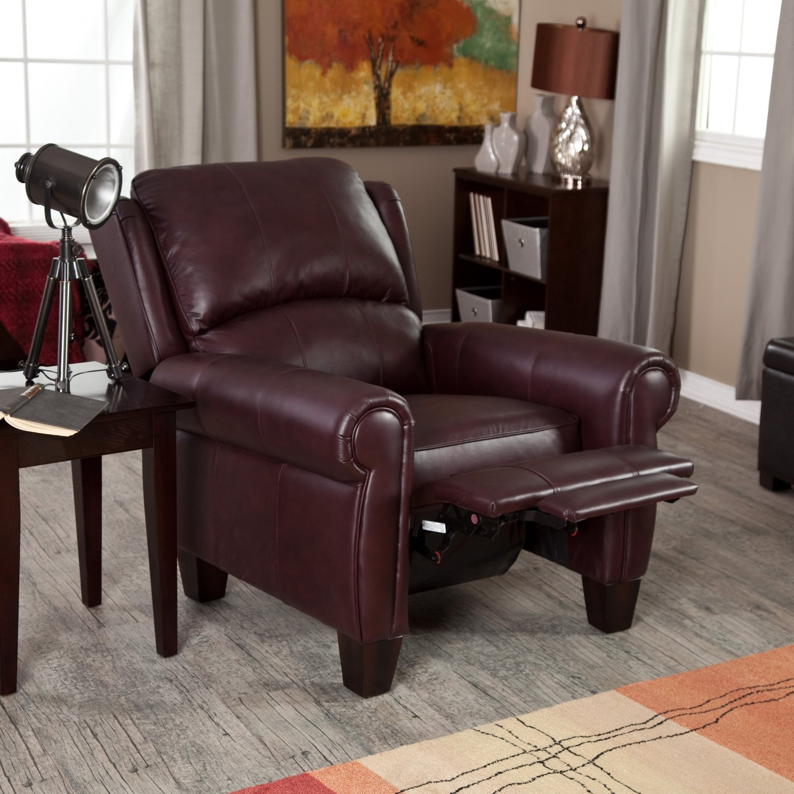 Leather Living Room Chair Leather Recliner Chair Home Burgundy Push Back Wingback
