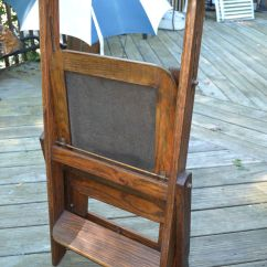 Wooden Step Stool Chair Spa Pedicure Chairs Parts Vtg Antique Wood Folding Library Ladder