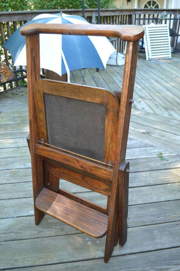 Antique Folding Wood Step Stool Ladder Chair