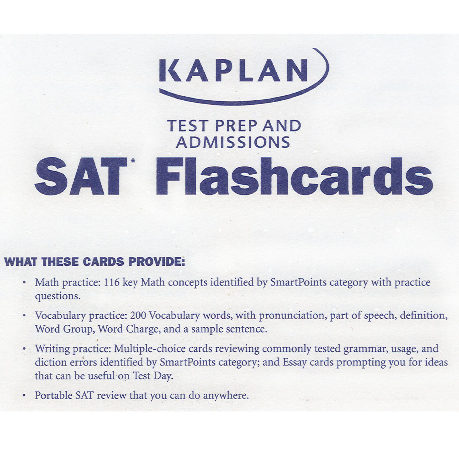 Kaplan Test Prep Admissions Sat Flashcards Math Vocabulary Writing Practice New