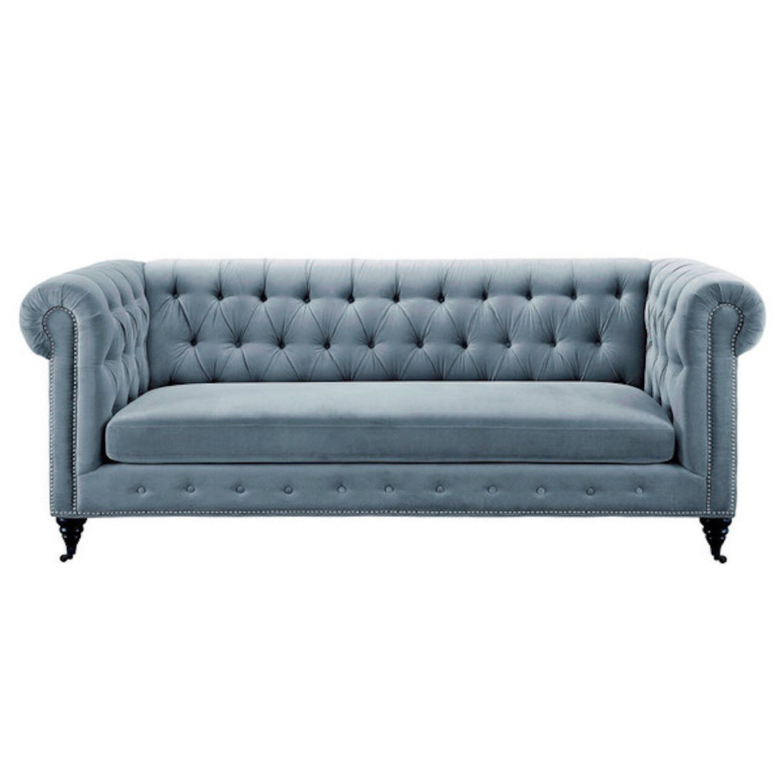 gray velvet sofa with nailheads 399 furniture warehouse grey chesterfield rolled arms nail head trim