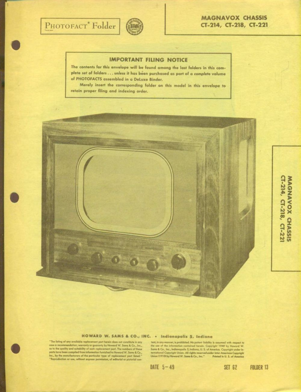 medium resolution of 1949 photofact 26 page folder magnavox tv with diagrams and schematics 9 89