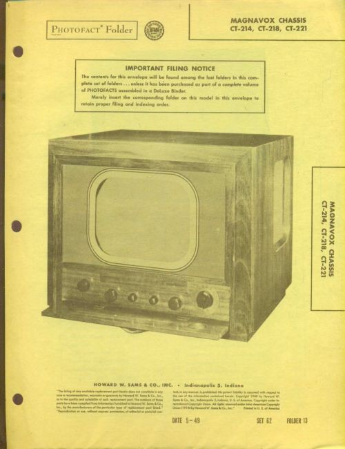 small resolution of 1949 photofact 26 page folder magnavox tv with diagrams and schematics 9 89