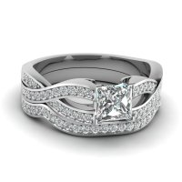 0.75 Ct Princess Cut Simulated Diamond Wedding Ring Sets ...