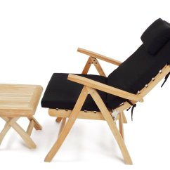 Teak Folding Chair Black Velvet Throne Premium Grade A 5 Position Reclining Arm