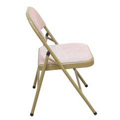 Pink Folding Chair Dining Slip Covers Adeco Portable Tubular Steel Golden Powder Coated