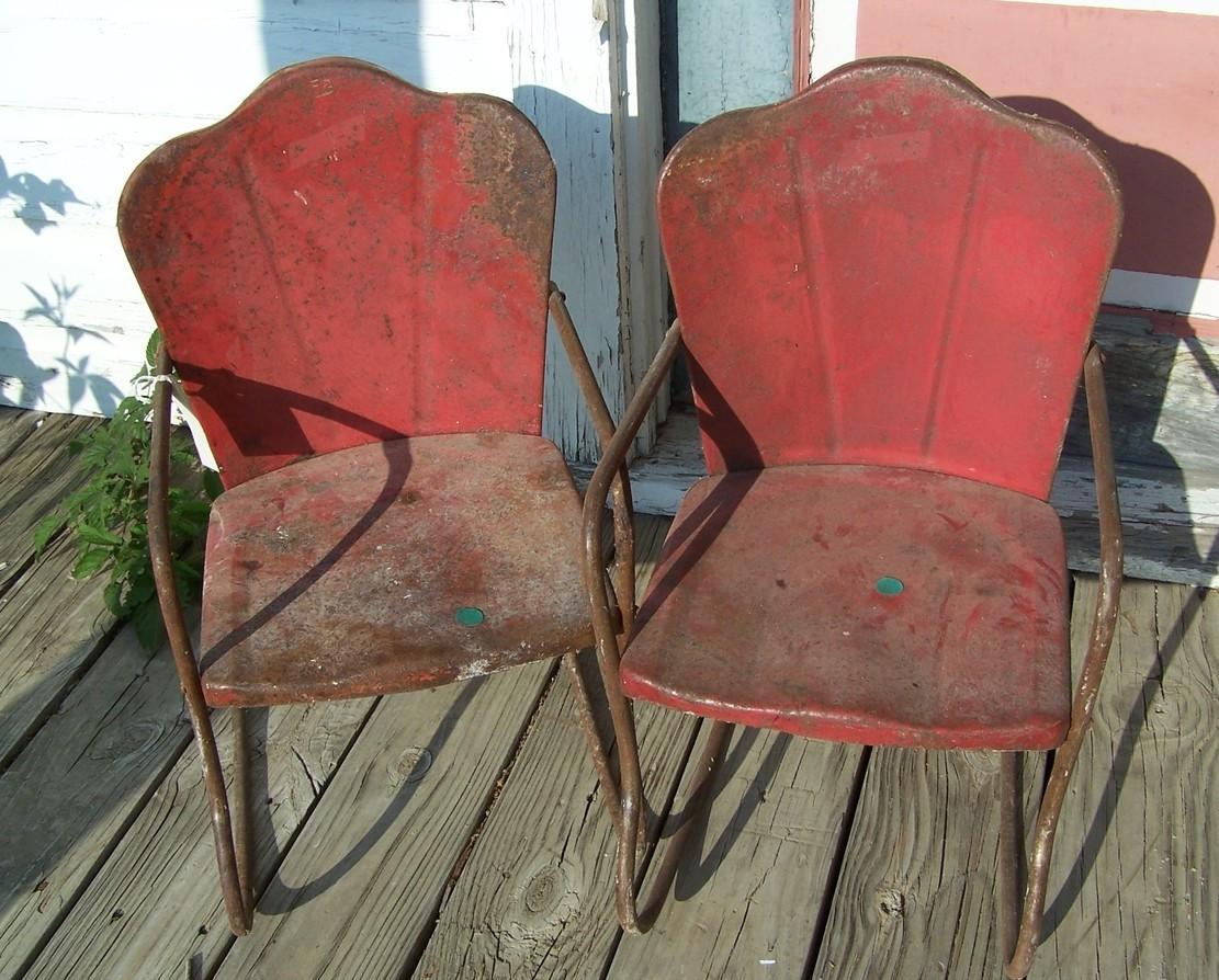 retro metal yard chairs low lawn pair of vintage childrens rocker 1940s