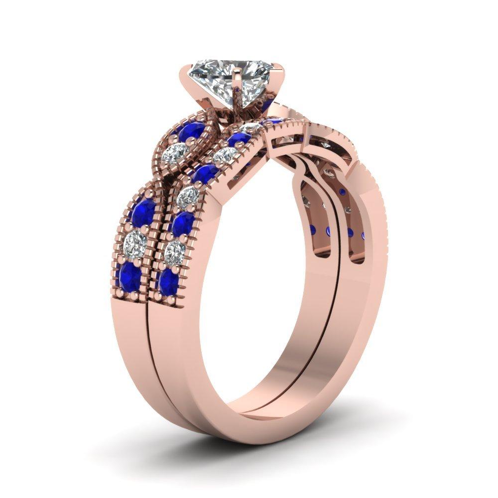Heart Shaped CZ Milgrain Weave Wedding Set W/ Blue