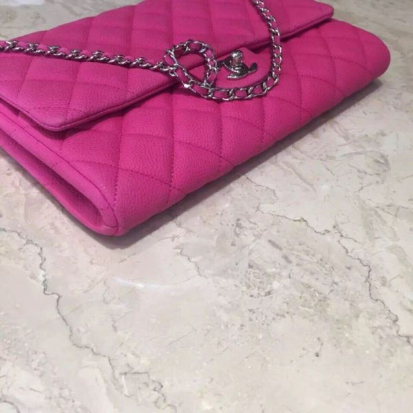 Auth Chanel Timeless Chain Clutch Bag Caviar Pink