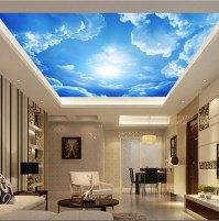 Custom 3D Clouds Ceiling Wallpaper Blue Sky Wall Paper ...