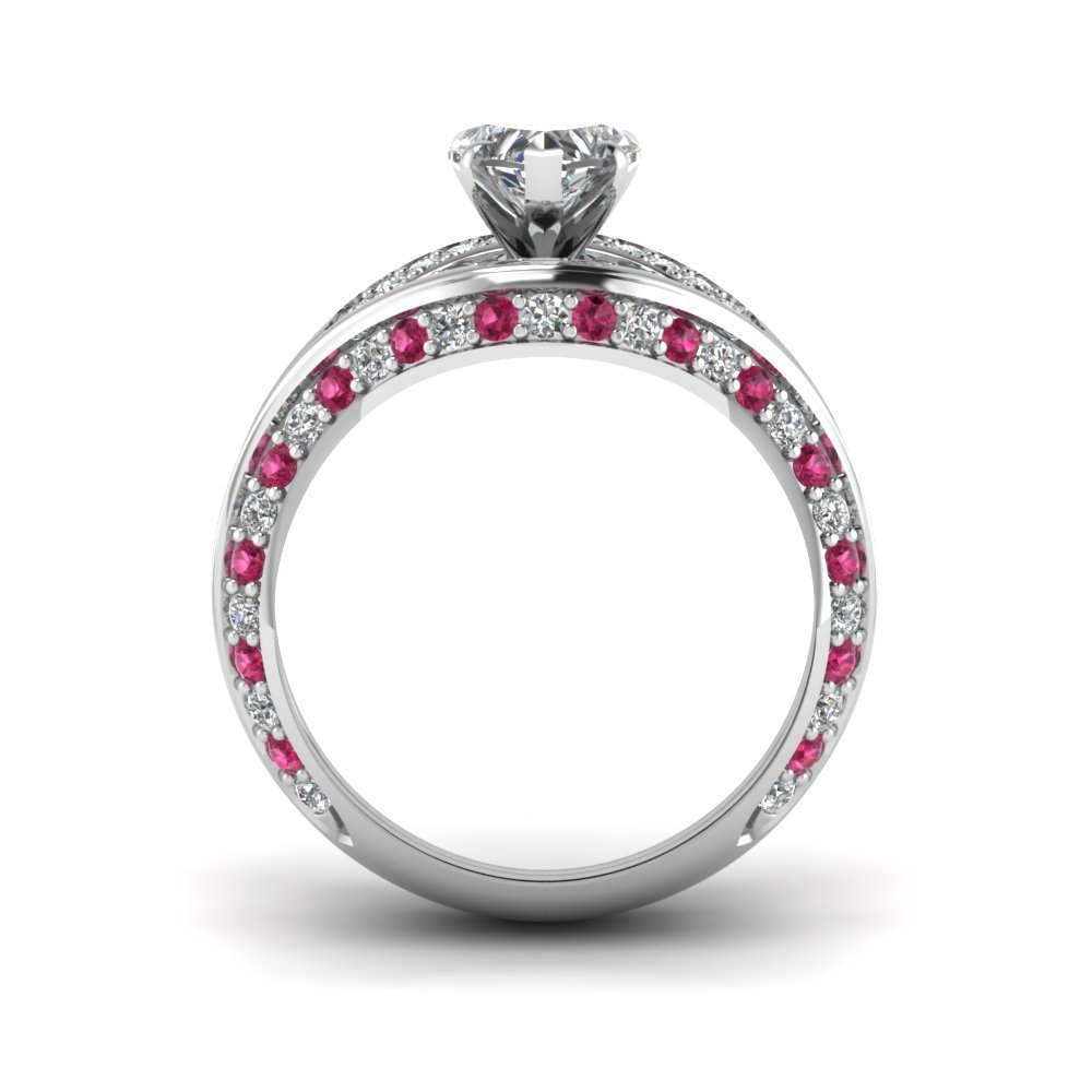 Heart Shaped CZ Archway Wedding Ring Set W/ Pink Sapphire