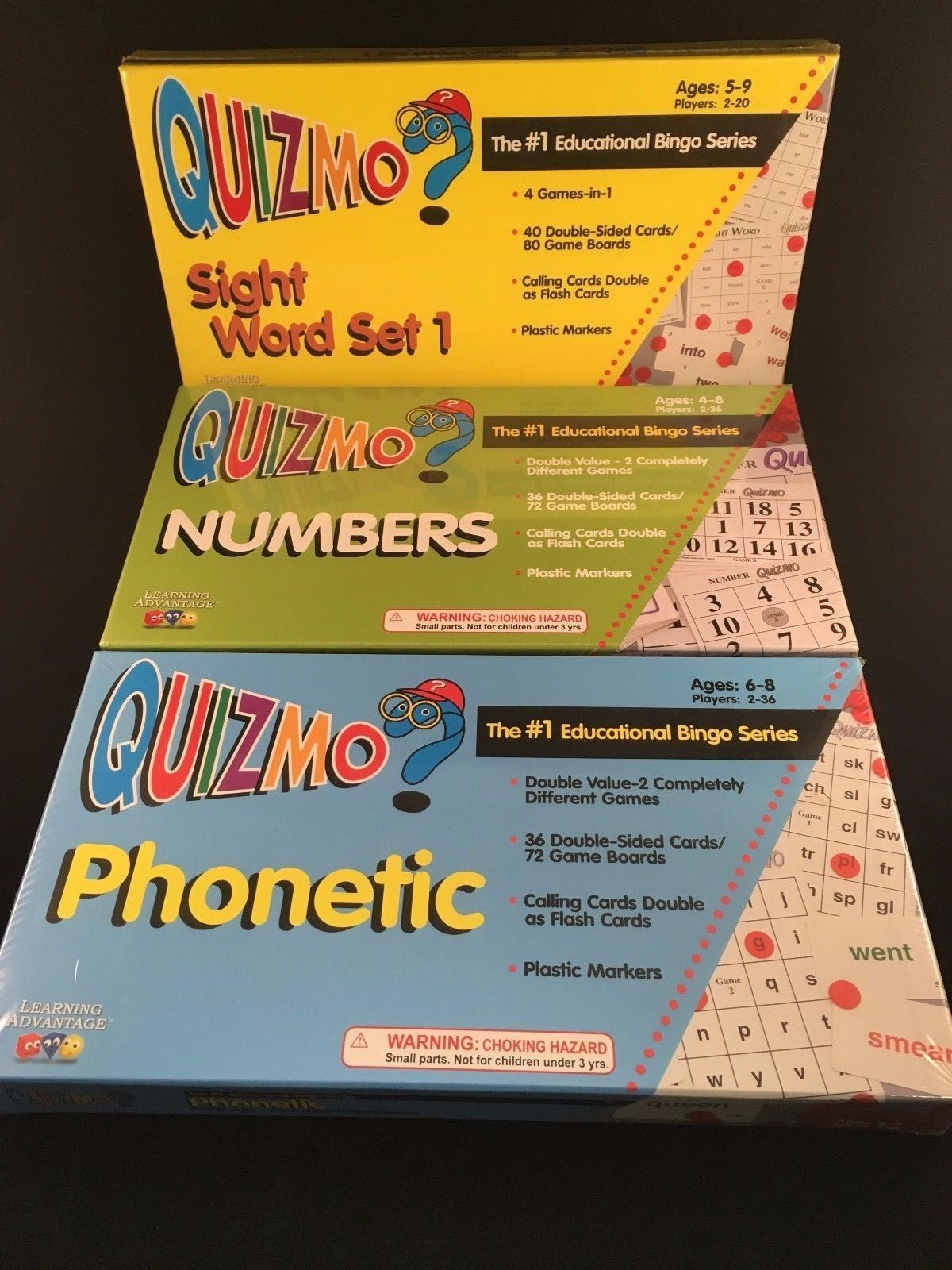 Lot Of 3 Quizmo Educational Bingo Board Games Phonetic Numbers Sight Word Sealed