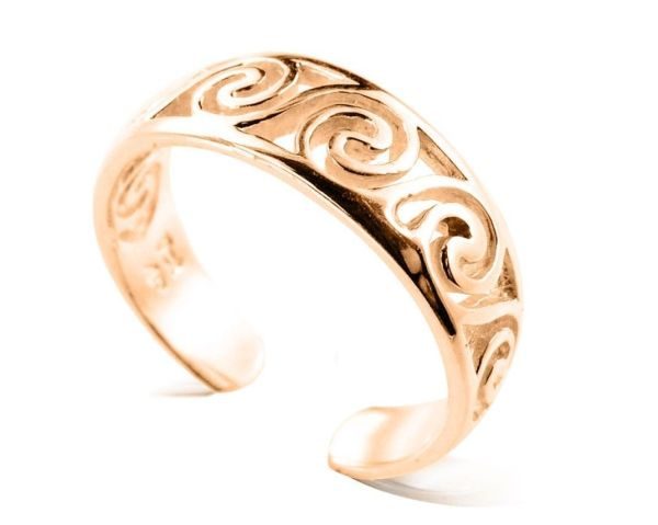 10k Solid Yellow Gold Celtic Swirl Toe Ring - Rings