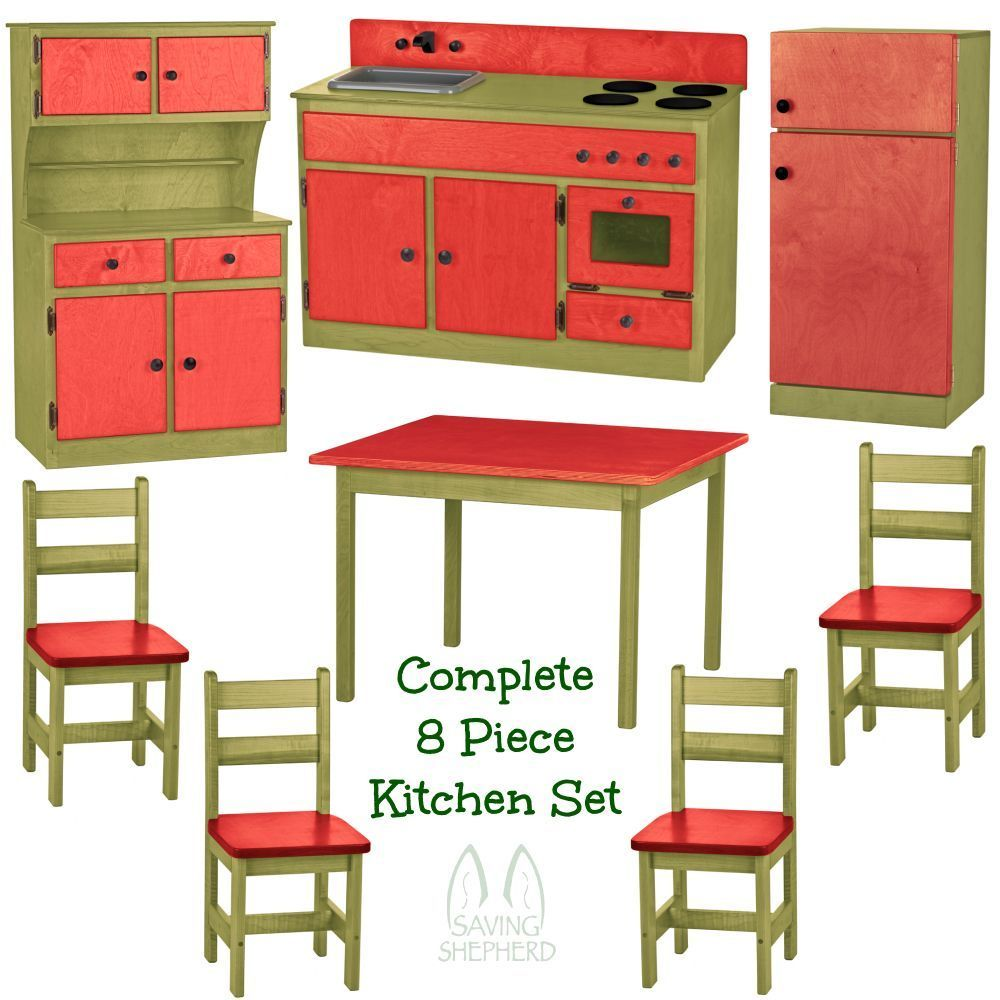 COMPLETE KITCHEN PLAY SET 8pc RED  GREEN Amish Handmade