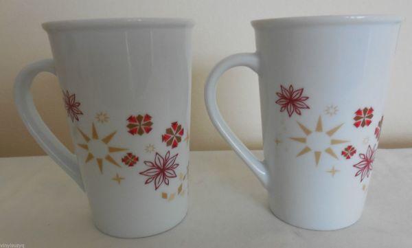 2 Starbucks Holiday Christmas Mugs 2013 Red Gold