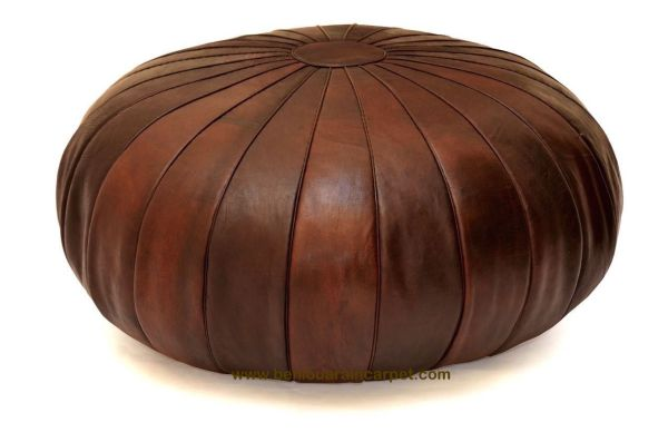 Stunning Leather Moroccan Pouf Ottoman Brown Leather