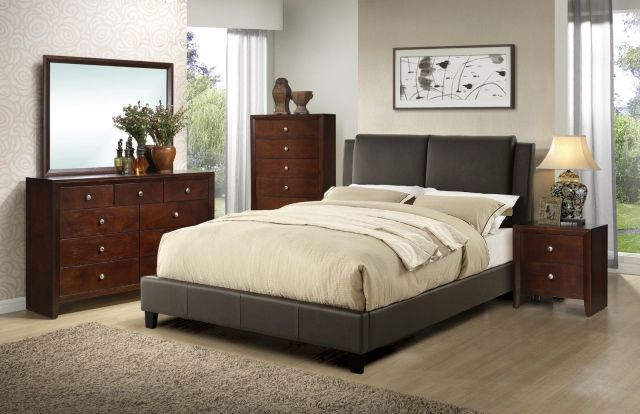 Cal King Size Bed Dresser Mirror Nightstand Modern 4pc ...