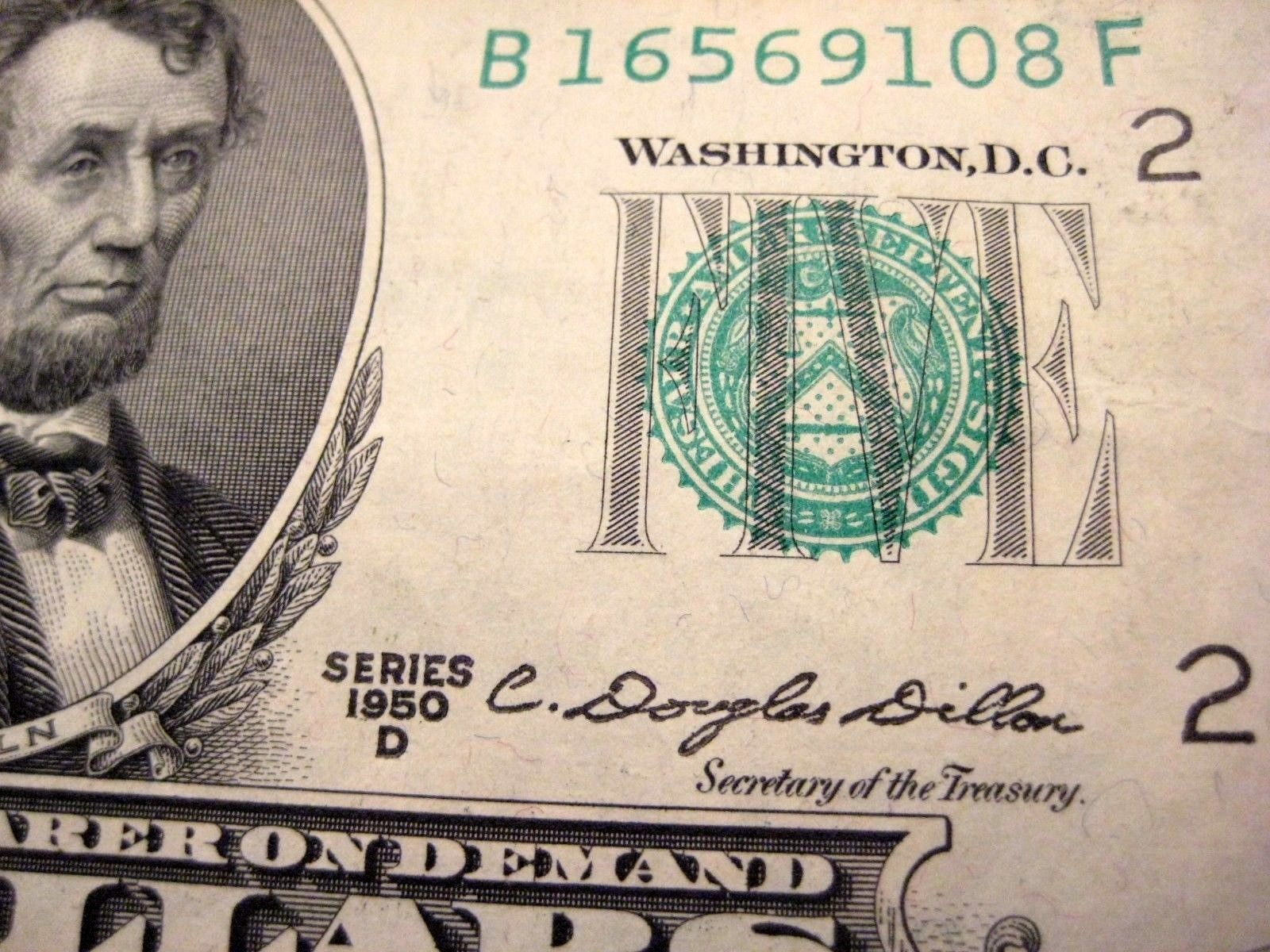 Five Dollar Bill 5 With Butterfly Fold Error D