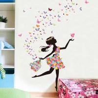 Butterfly Flower Fairy Wall stickers for girls kids ...