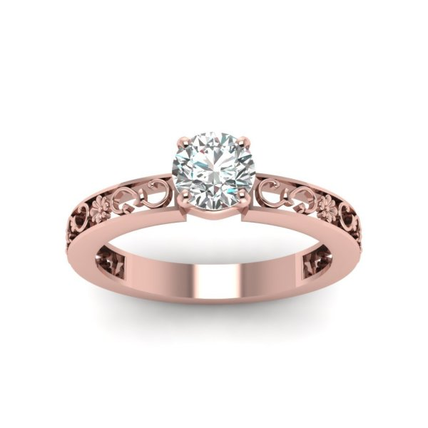1.00 Ct Cut Cubic Zirconia Antique Solitaire Ring 18k Rose Gold Plated - Cz Moissanite