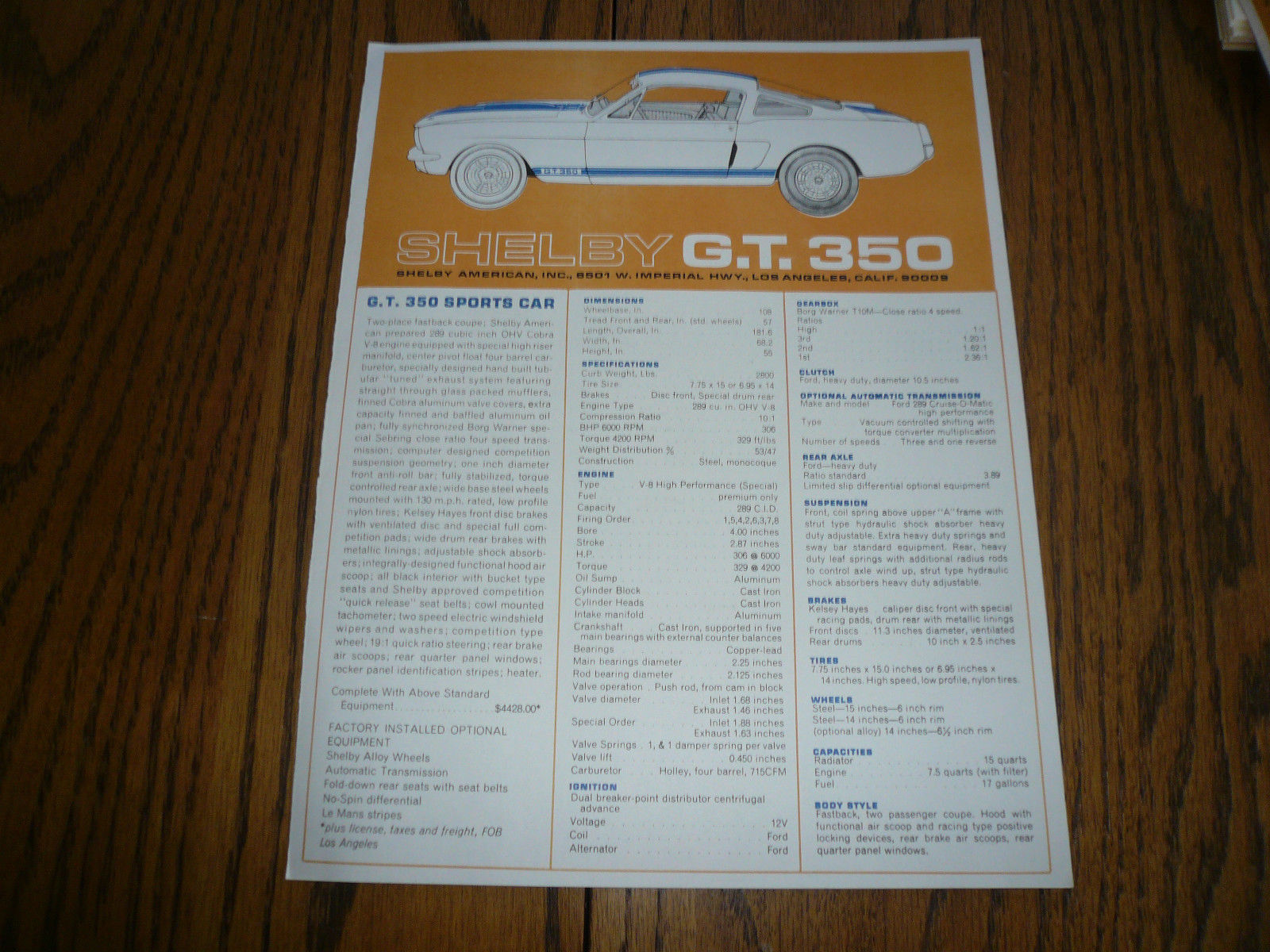 hight resolution of shelby ford gt 350 sales flyer brochure and 50 similar items rh bonanza com 2007 ford edge radio wiring diagram diagram of 200