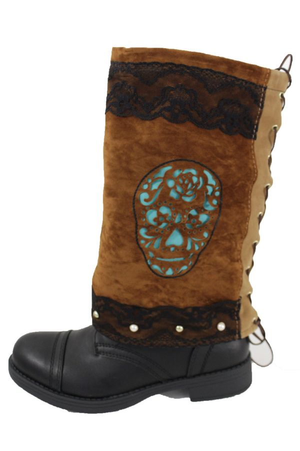 Women Boot Cover Toppers Pair Brown Faux Leather Slip