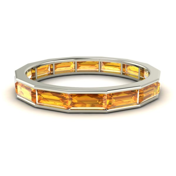 Natural Citrine Full Eternity Wedding Anniversary Band