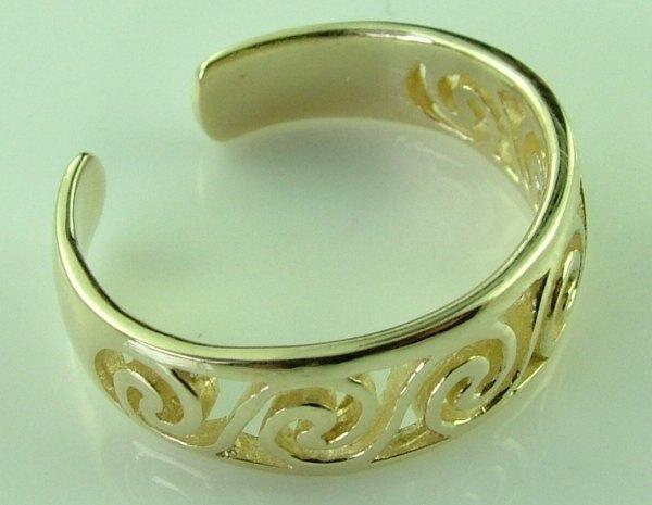 10k Gold Celtic Swirl Knuckle Toe Ring Adjustable - Rings