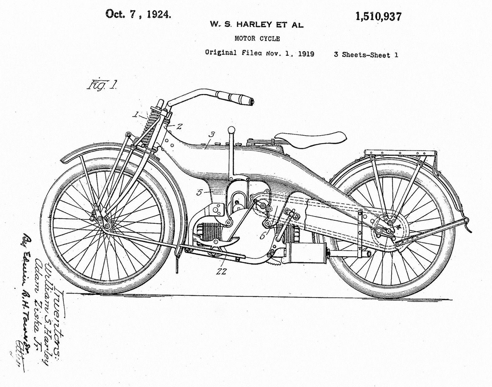 Harley Davidson Gifts Biker Motorcycle Art 1919 Patent