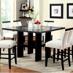Led Table And Chairs Hanging Chair Frame Nz Dining Room Set Counter Height Black White Faux
