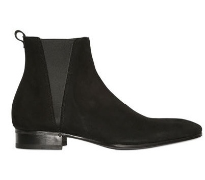 Handmade men black Suede Chelsea boot Mens fashion side