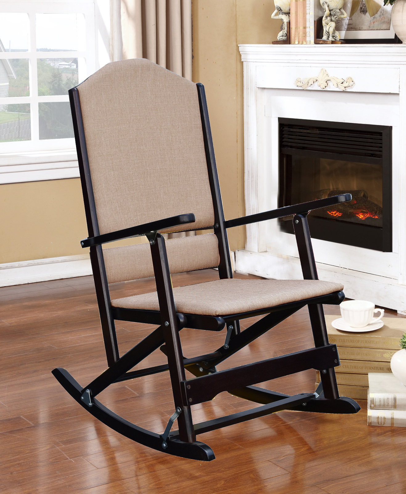 wood rocking chair parts computer amazon louis solid folding with upholstered