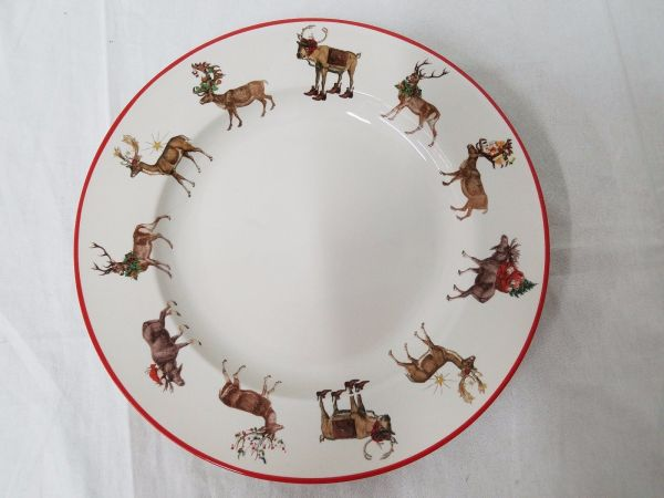 Pottery Barn Silly Stag Reindeer Dinner Plates Set Of 8