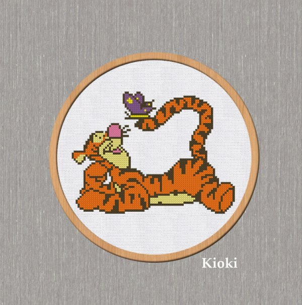 Cross Stitch Pattern Small Tigger Instant - Flowers Gardens & Nature