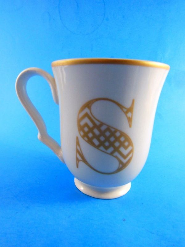 Fine China Mug Cup With Gold Letters And Rim