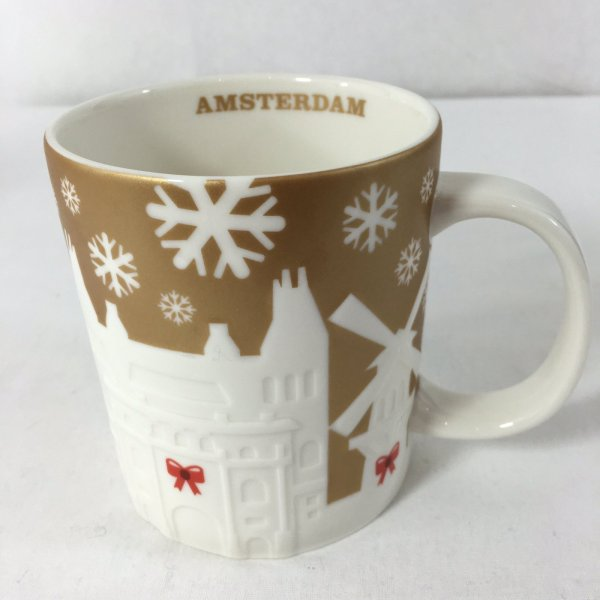 Starbucks Gold Relief Mug Amsterdam Christmas Holiday 2014