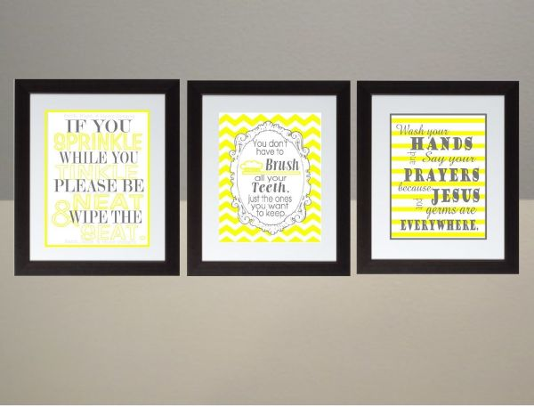 Yellow Gray Chevron Bathroom Rules Wall Art Print