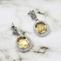 Natural Citrine Halo Sterling Silver Earrings, November