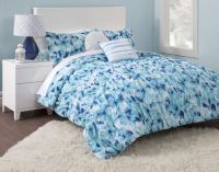 Blue Floral Girls TWIN/XL Bed Comforter Set Flowers Teen