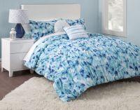 Blue Floral Girls TWIN/XL Bed Comforter Set Flowers Teen ...