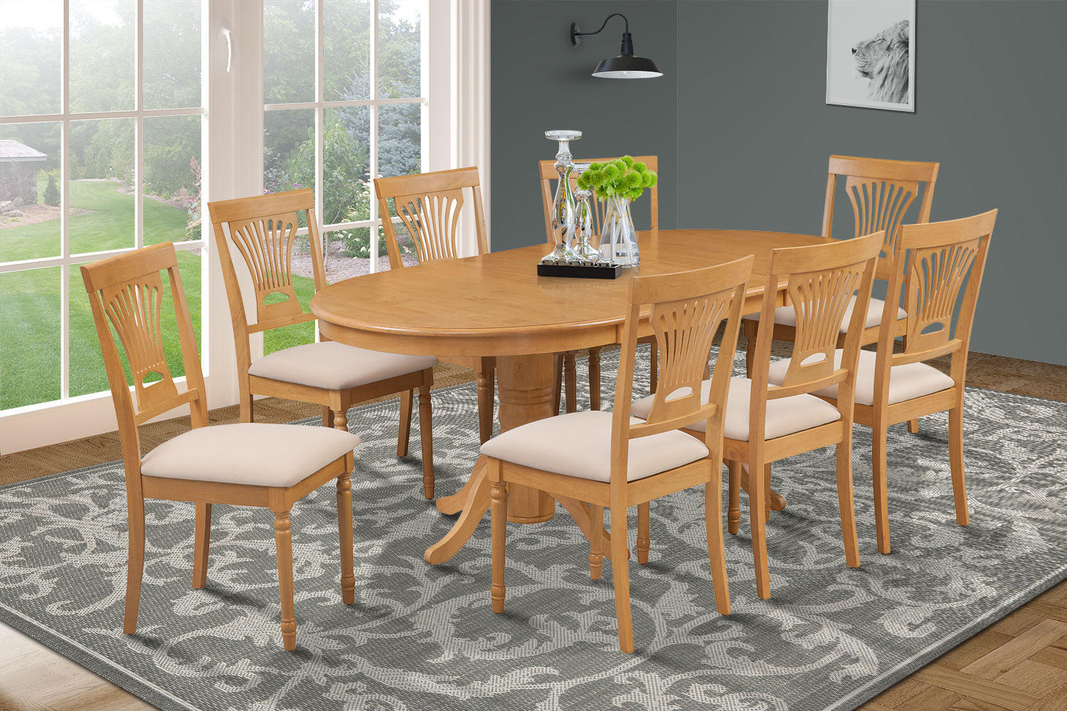 dining set with 8 chairs bean bag chair filler kmart 9 piece oval room table w soft padded